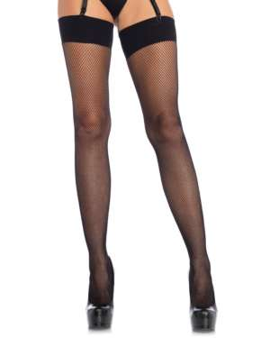 Leg Avenue Spandex Fishnet Thigh Highs with Wide Band Top
