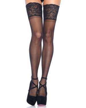 Leg Avenue Stay Up Thick Lace Top Sheer Thigh Highs
