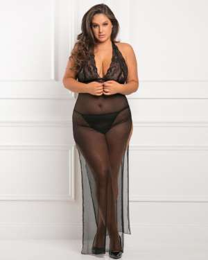 Rene Rofe All Out Sheer Halter Gown with Panty Set